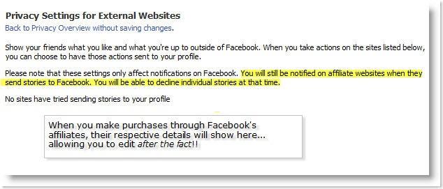 Facebook Beacon - Privacy Settings