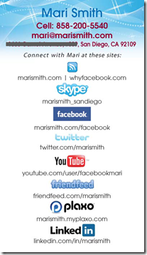 Social network business cards found fab printer on twitter mari smith facebook business coach colourmoves