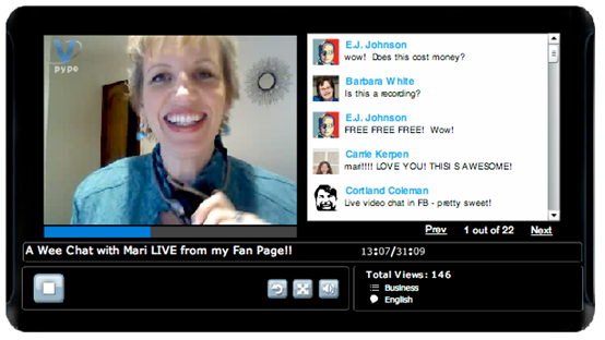 Facebook Vpype - Mari Smith live broadcast