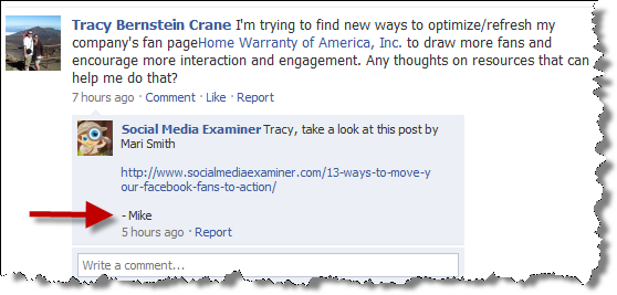 Social Media Examiner - Facebook fan page post example