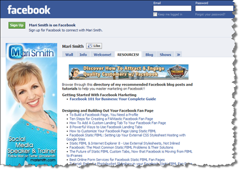 Click here to visit Mari Smith's Facebook fan Page