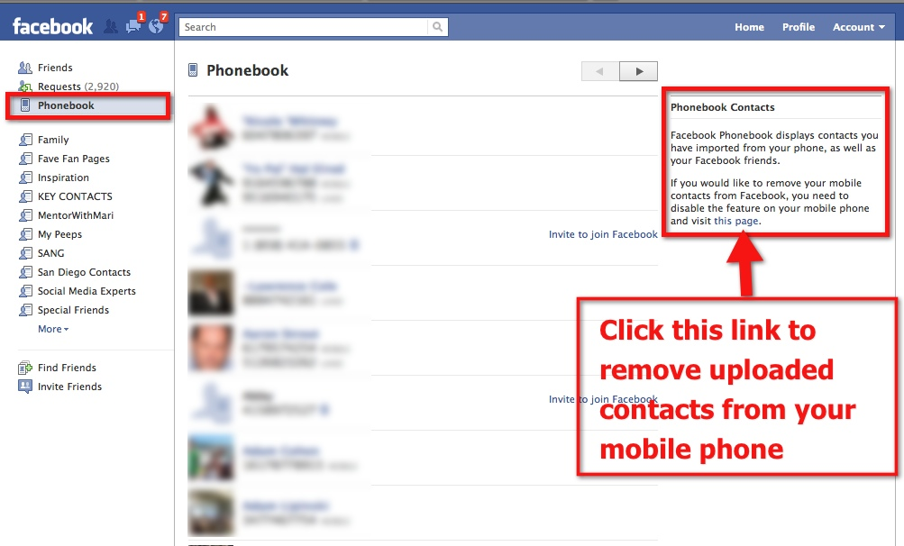 Facebook Phonebook - Remove Mobile Contacts From Facebook