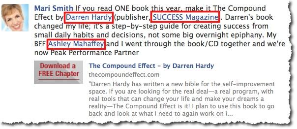 Facebook @ tag etiquette example