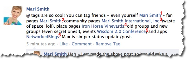 Six Facebook @ tags