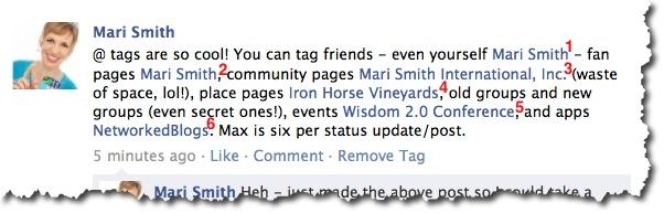 Six Facebook @ tags