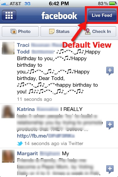 Facebook Mobile Default View - Live Feed