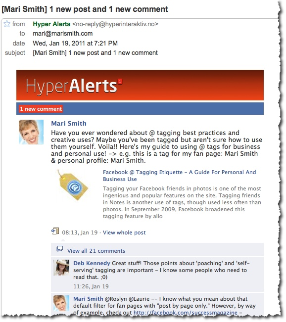 Hyper Alerts Facebook fan page email alert example