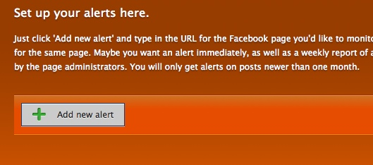 Hyper Alerts - set up new Facebook fan page alert