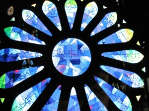 Stunning stained glass window of la Sagrada Família