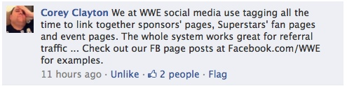 WWE Facebook Tagging Example