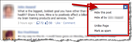 Facebook News Feed - Hide Options