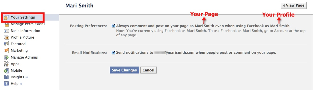 Facebook Page - edit settings