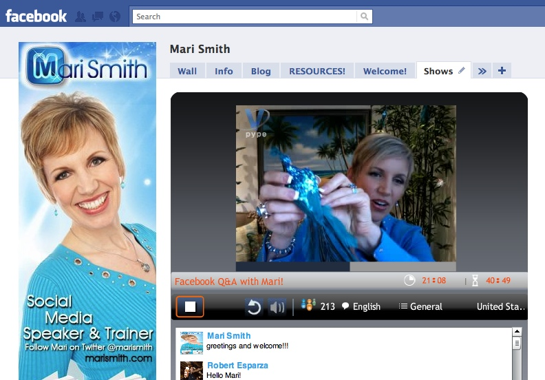 Mari Smith - Facebook Fan Page - Vpype App