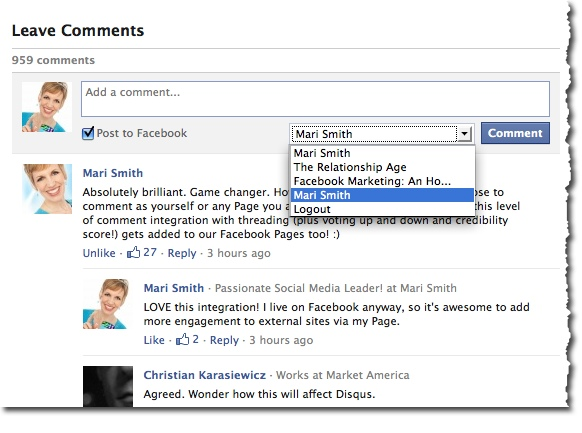 Facebook Comments Plugin - Switch to Page