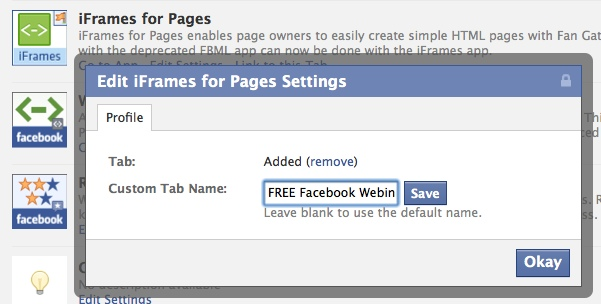 edit page settings iframes
