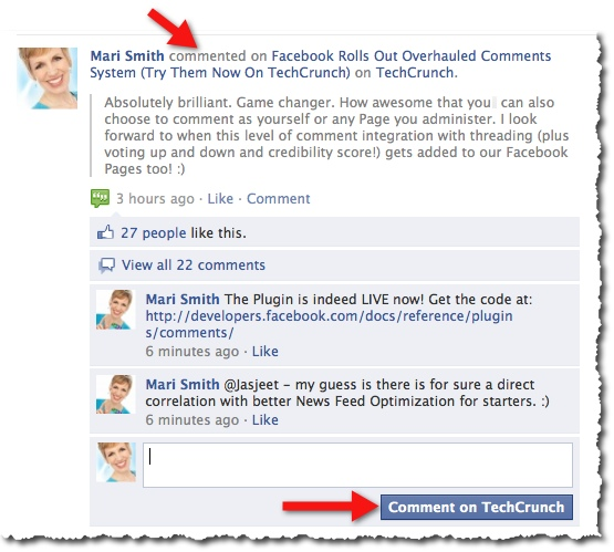 Facebook Comments Box Social Plugin on TechCrunch