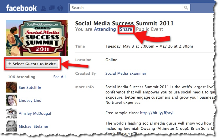 Six ways to effectively promote events on facebook case study social media success summit 2011 facebook event stopboris Choice Image