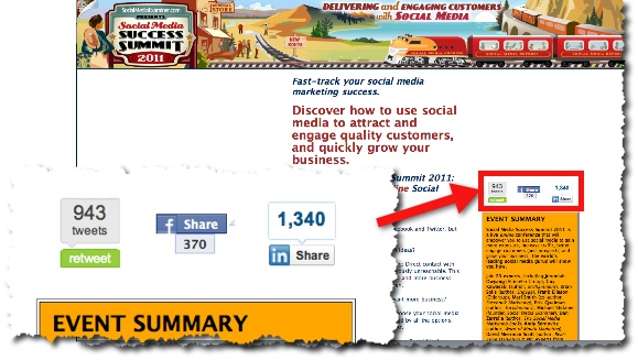 Social Share Buttons on Social Media Success Summit page