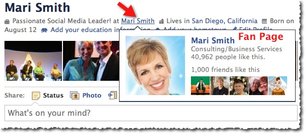 Facebook Fan Page Hover Card Mari Smith