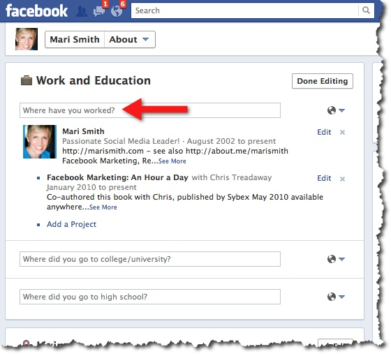 Facebook Timeline - Update Work