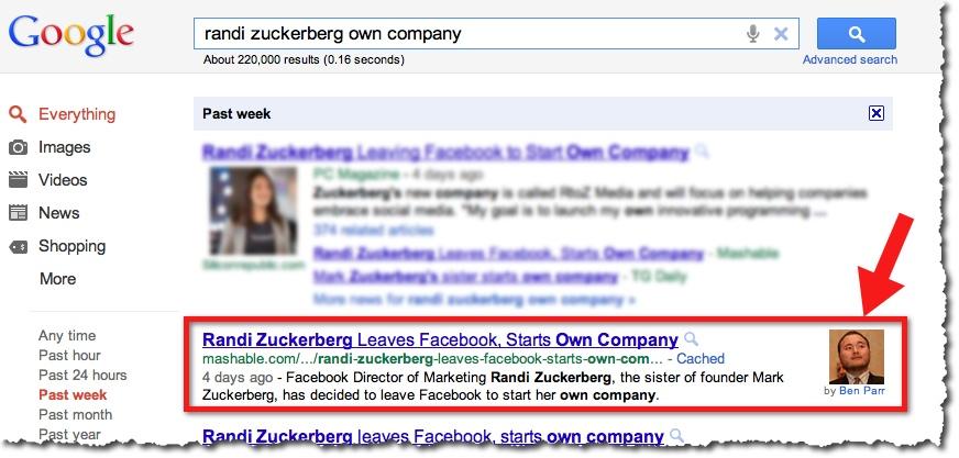 Google SERP Randi Zuckerberg Ben Parr