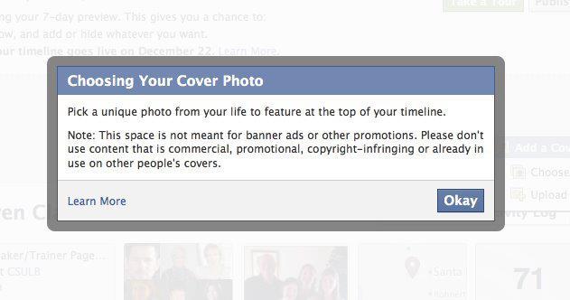 Facebook Timeline - Cover Image Message