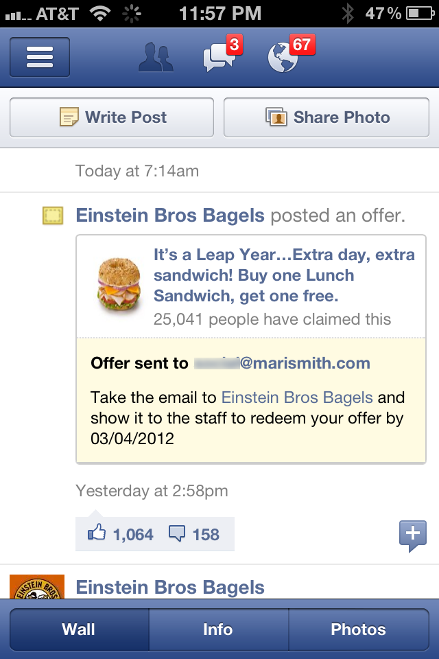 Einstein Bros Bagels - Facebook Offer Claimed