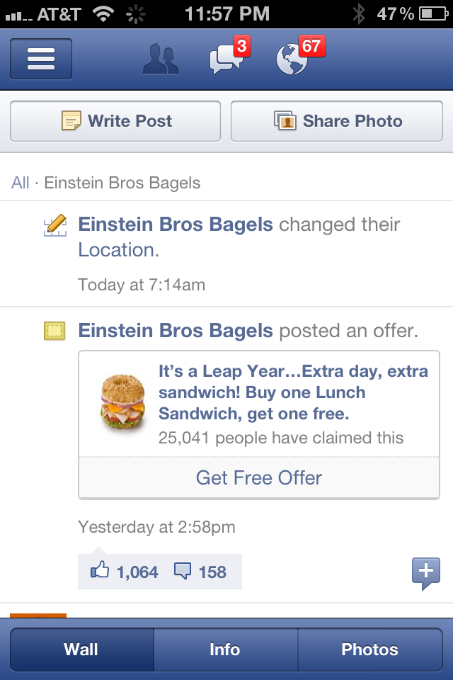Einstein Bros Bagles - Facebook Offer