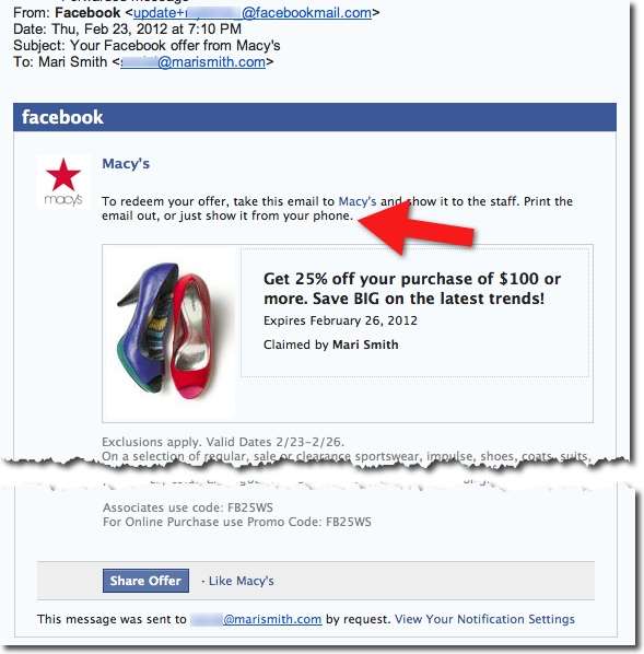 Facebook Offers - Claim Email