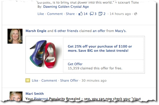 Facebook Offers - Marsh Engle Claimed Macy's