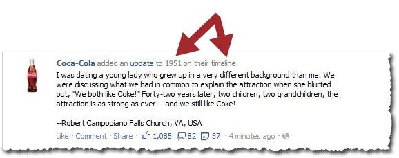 Facebook update Coca-Cola Timeline Page