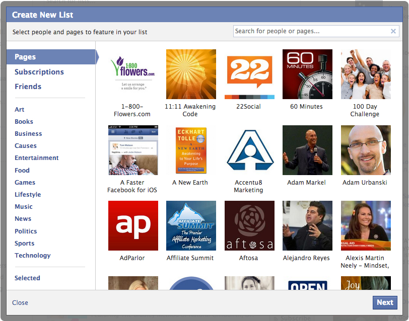 Create New Facebook Interest List