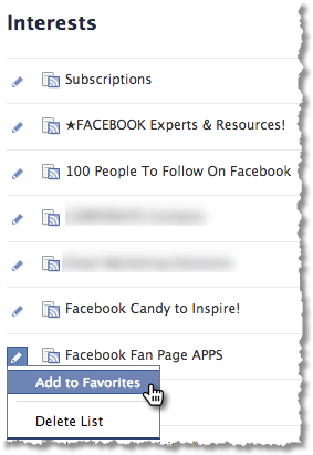 Facebook Interest List - Add To Favorites