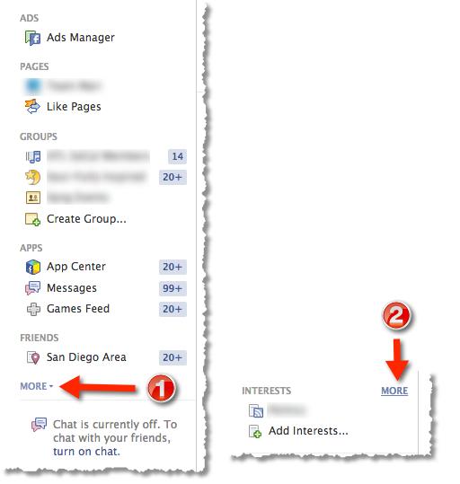 Facebook Interest List - Home Page Navigation