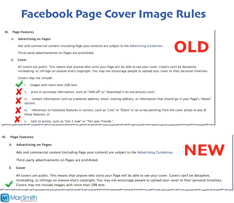 Facebook cover image rules