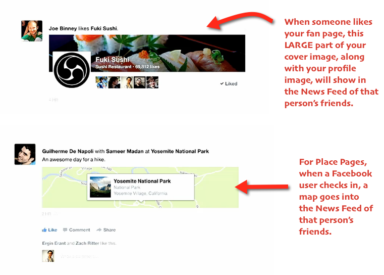 New Facebook page displays in news feed