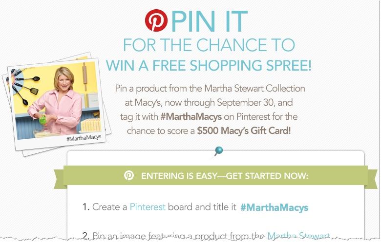 Martha Stewart Macys Pinterest Contest