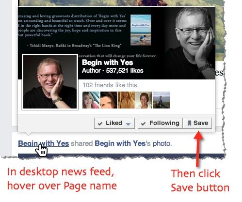 save facebook page desktop news feed