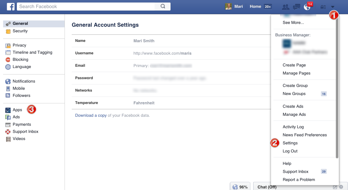 desktop app settings facebook