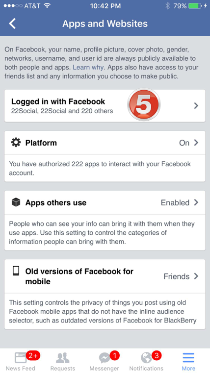 facebok app settings 4