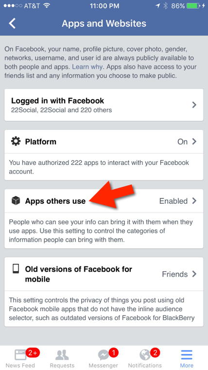 facebook apps others use setting