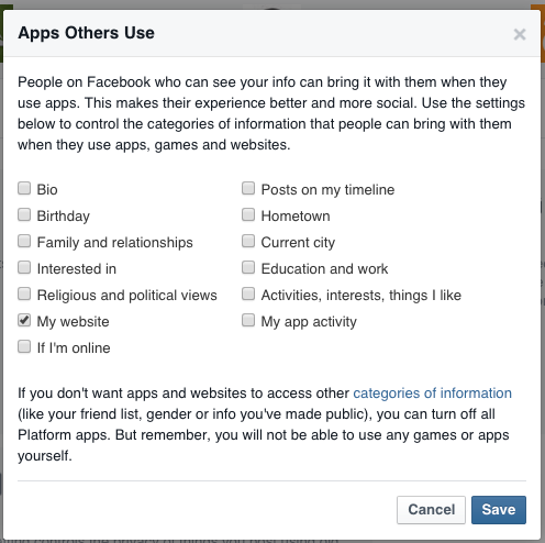 facebook settings apps others use