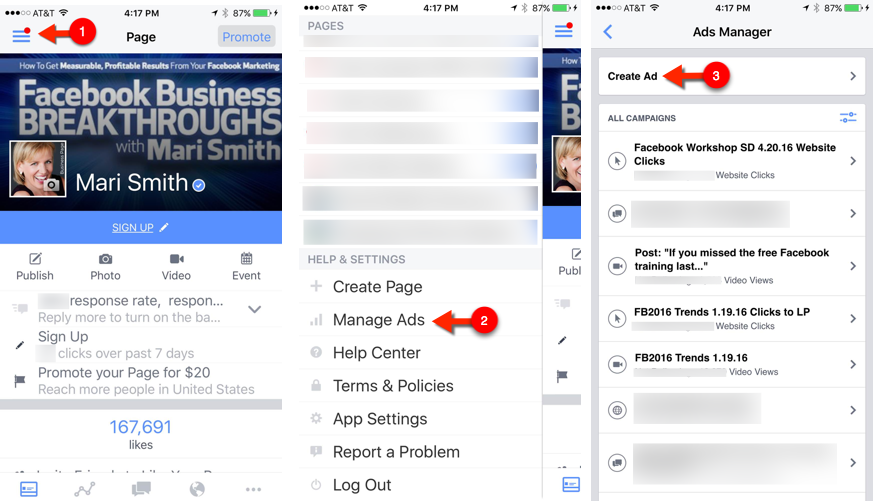 facebook pages manager access ads