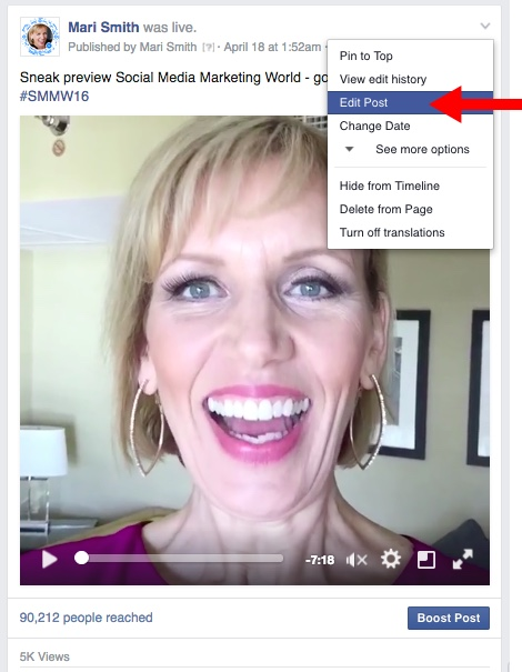 Facebook Live Video - edit post
