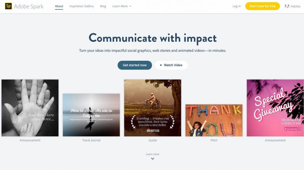 Adobe Spark homepage