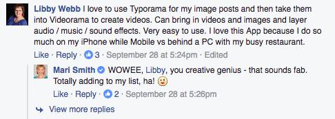 Facebook comment Typorama