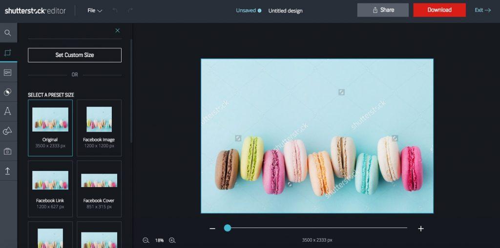 Shutterstock Editor sizing