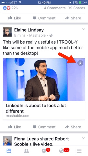 Instant articles Facebook mobile view