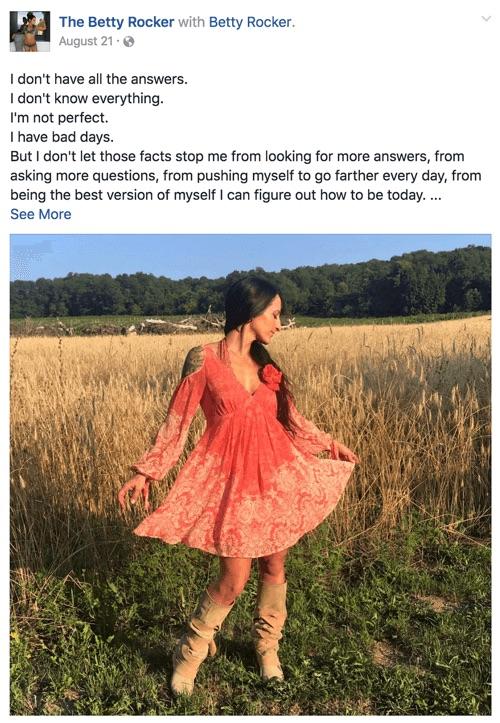 Betty Rocker Facebook post