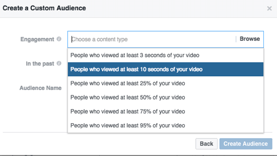 Narrow your custom Facebook audience by percentage of video watched.